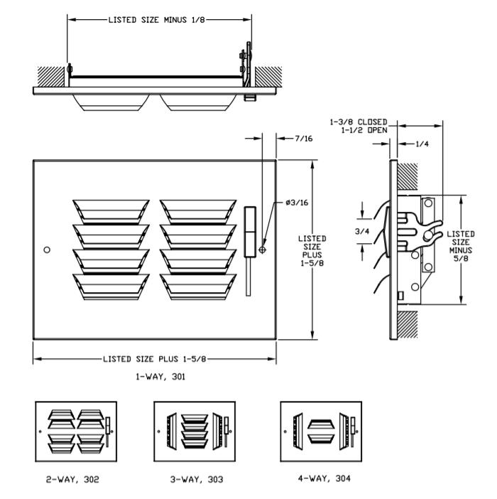 363 - Steel Curved Blade Registers 3-way, Metal Handle, MS damper Dimensional Drawing